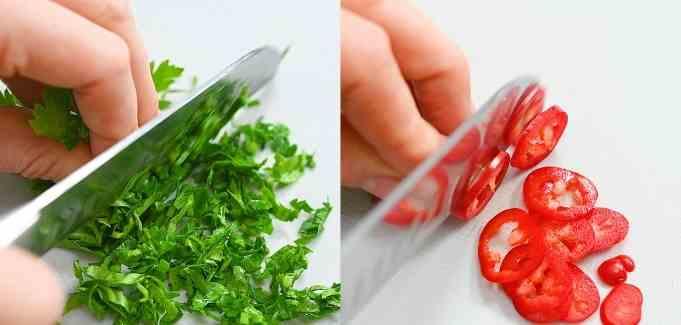cutting parsley and Serrano pepper