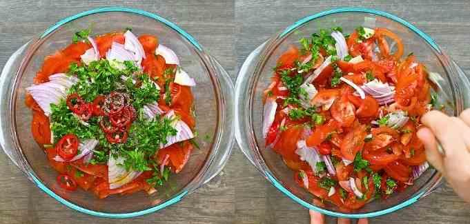 mixing salad ingredients together.