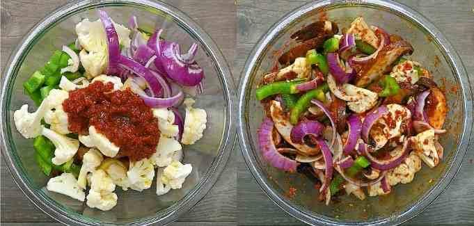 mixing veggies with tomato pesto