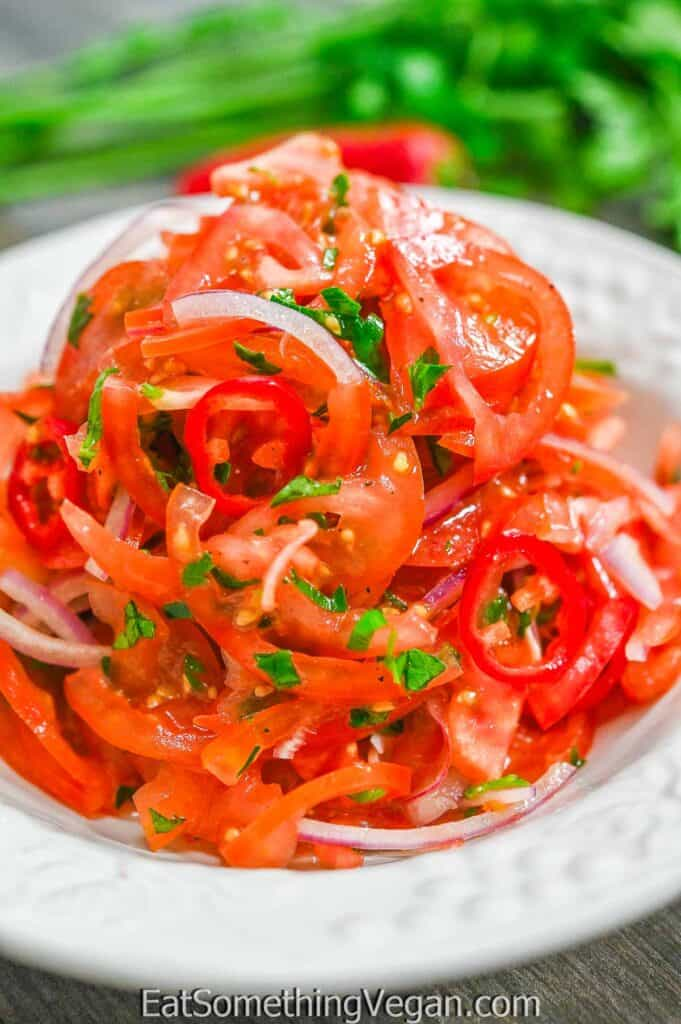 Tomato and Onion Salad on a white plate