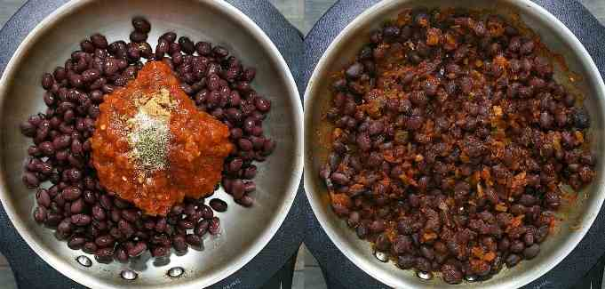 cooking the beans with salsa