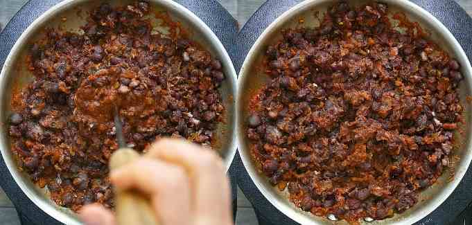 mashing the beans