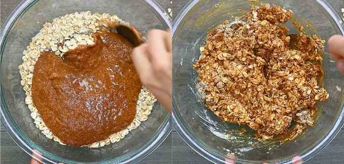 mixing dry and wet ingredients together