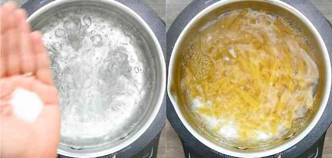 cooking pasta in water