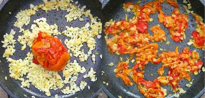 adding the roasted peppers