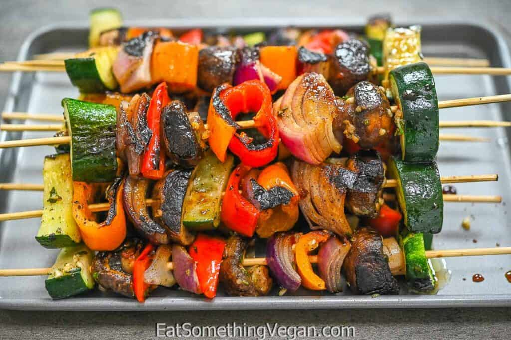 Vegetable Skewers on a grey tray