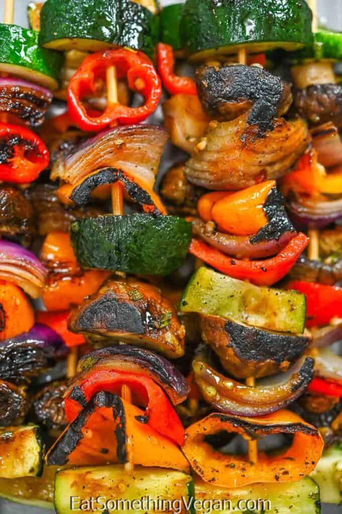 Vegetable Skewers close up shot