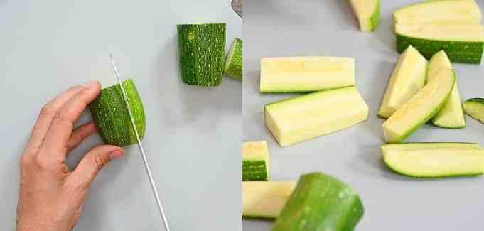 cutting zucchini into sticks