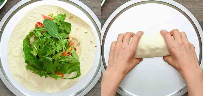 adding greens and wrapping the tortilla