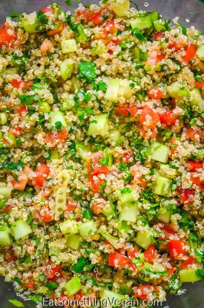 Quinoa Tabbouleh Salad close up shot