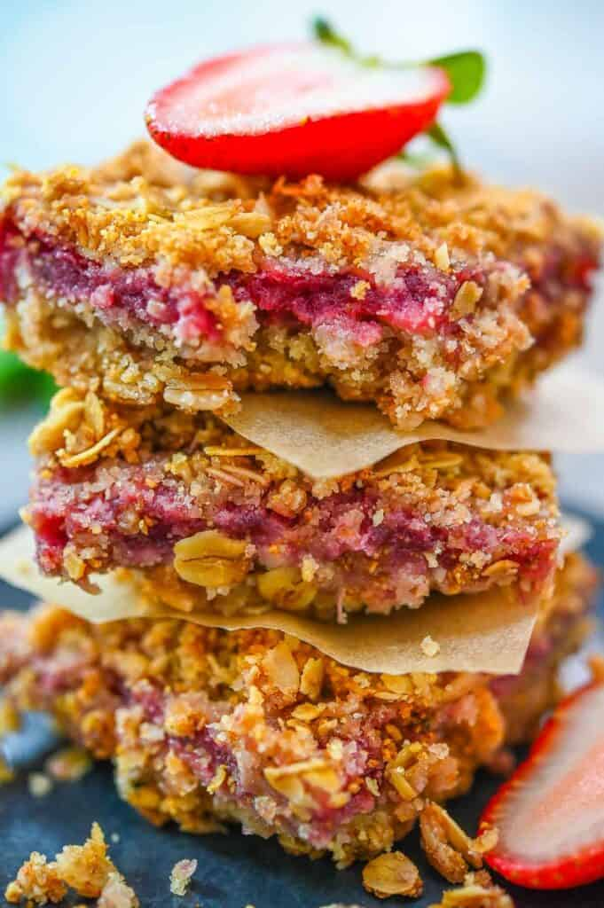Strawberry Oatmeal Bars stacked on top of each other