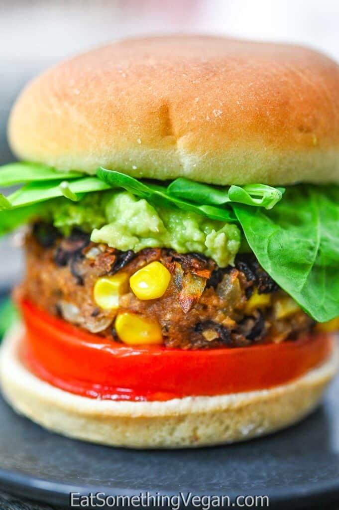 Vegan Black Bean Burger on a plate