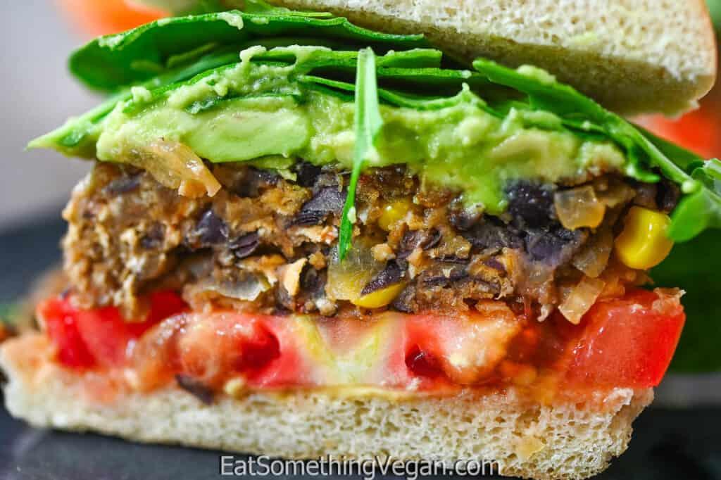 Vegan Black Bean Burger from the inside