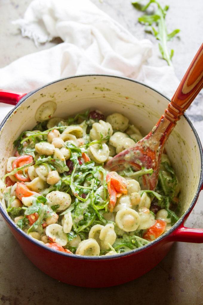 Orecchiette in Creamy Dairy-Free Pesto