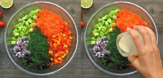 mixing the salad with dressing