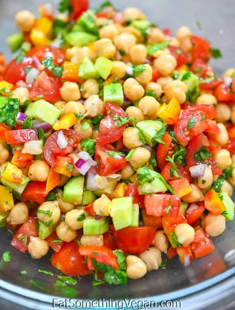 Easy Chickpea Salad in a large glass bowl