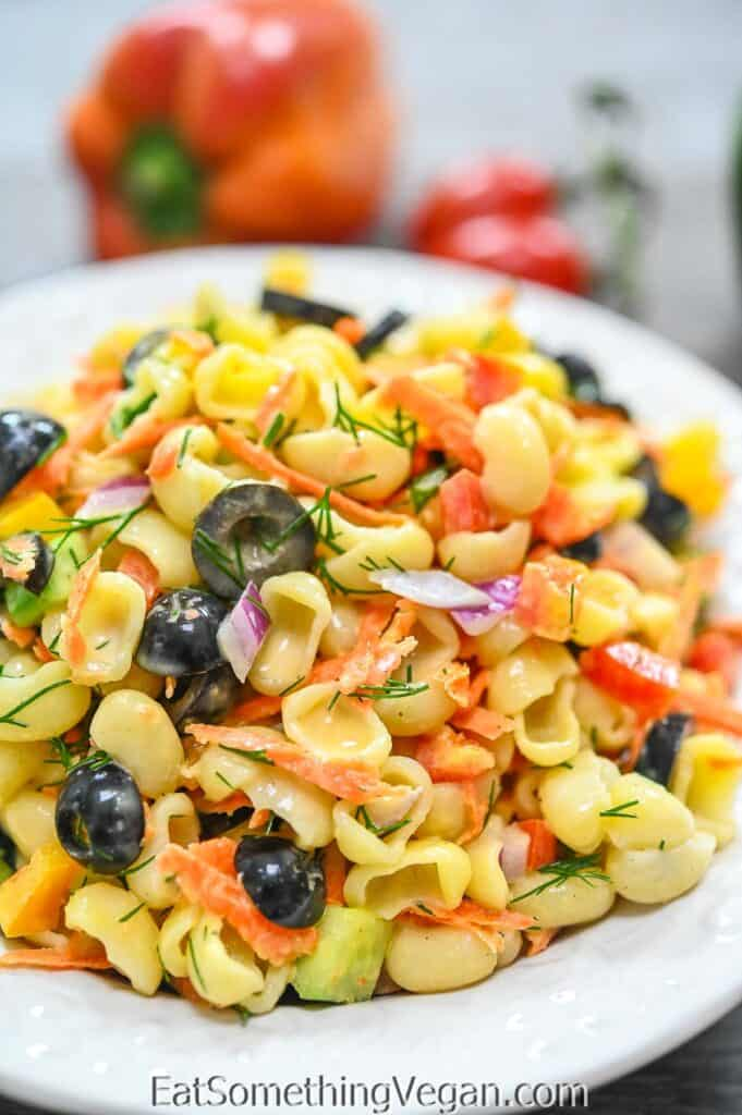 Vegan Pasta Salad on a plate