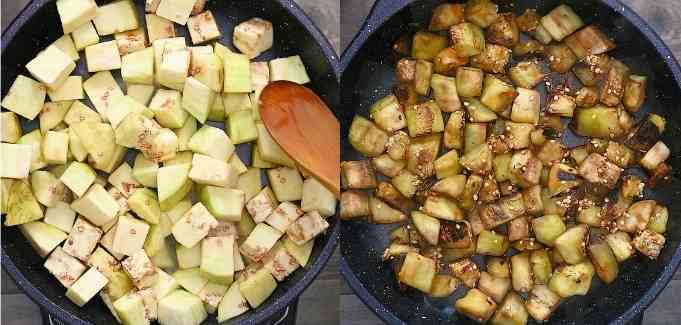 cooking the eggplant cubes