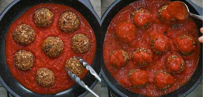 covering the Vegan Eggplant Meatballs with Marinara