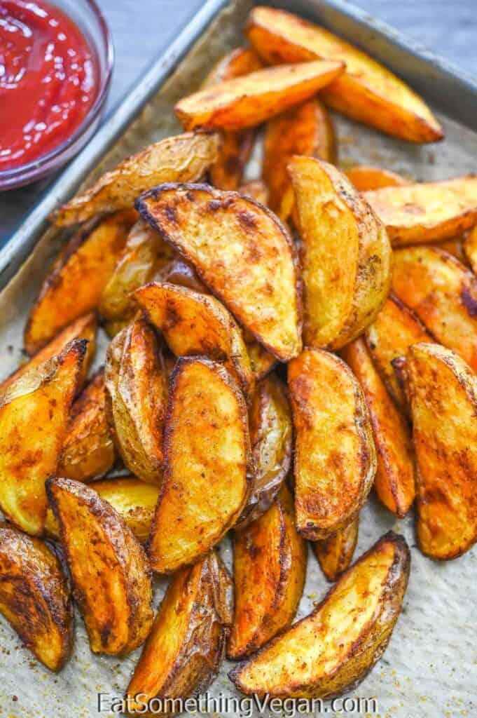 Paprika Baked Potatoes on a tray