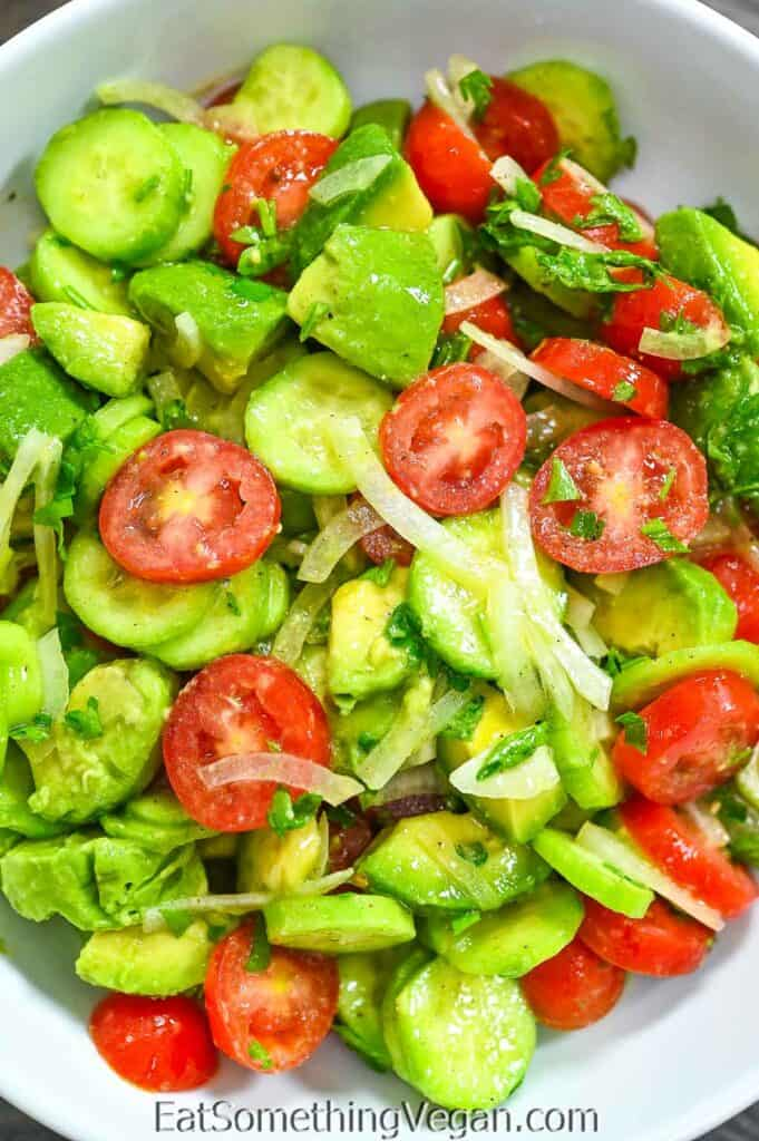 Simple Avocado Salad in a white bowl