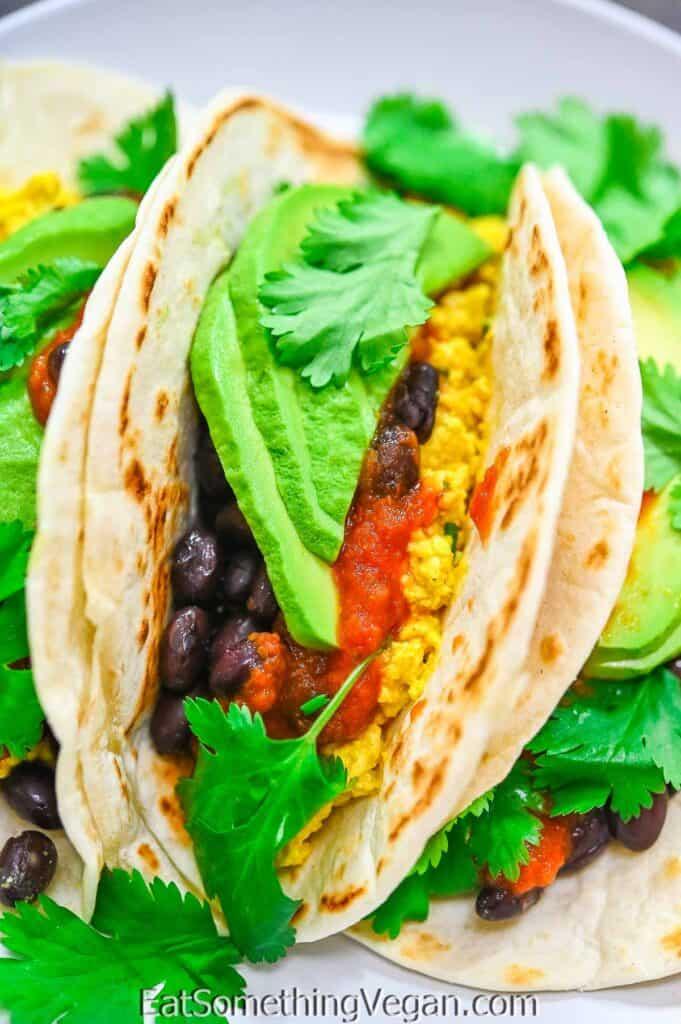 Vegan Breakfast Tacos on a plate
