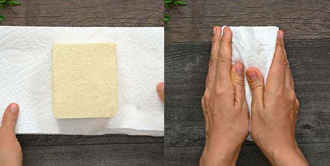 pressing the tofu