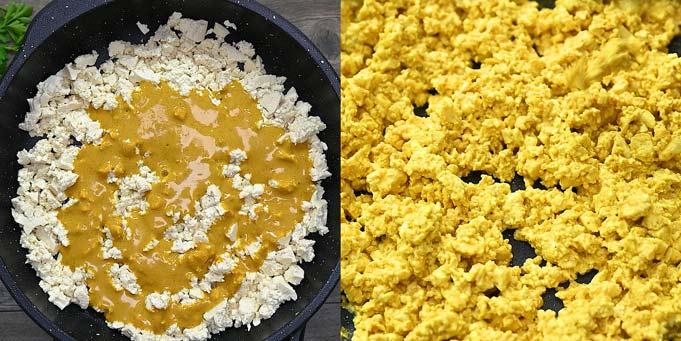 adding the eggy mixture to the tofu