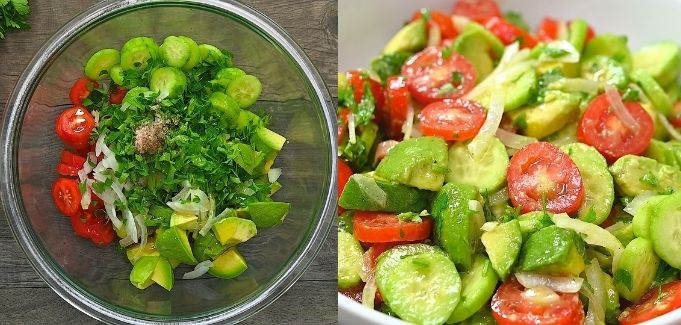mixing all of the salad ingredients in a bowl