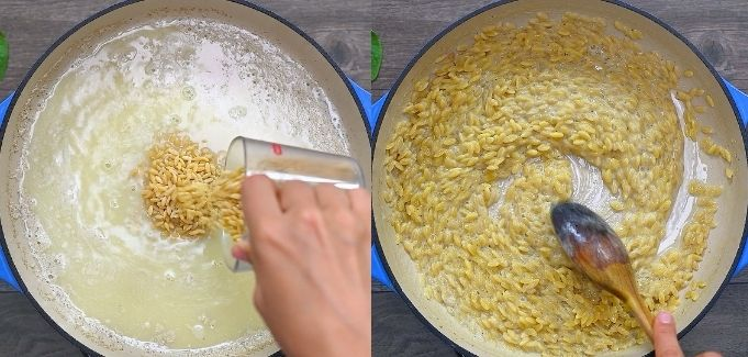 adding orzo and cooking it