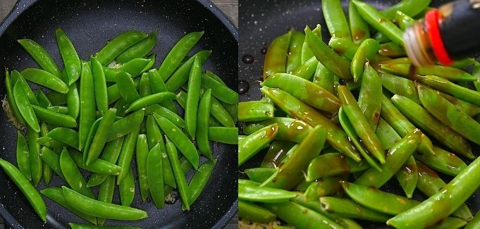 adding snap peas and soy sause