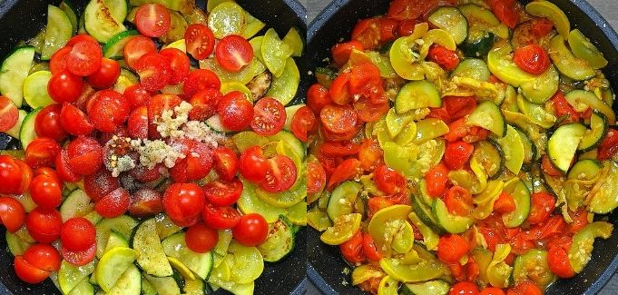 adding tomatoes to zucchini