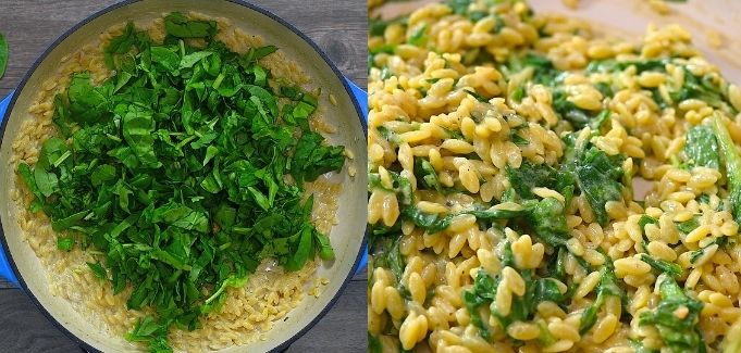 adding spinach to the orzo