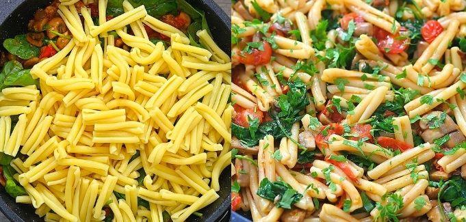 adding pasta to the veggies