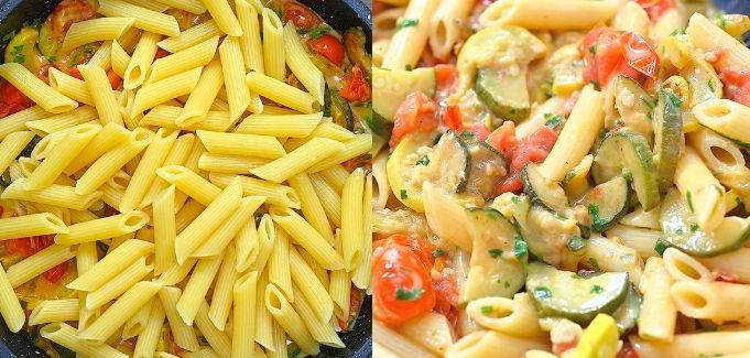 adding pasta to zucchini