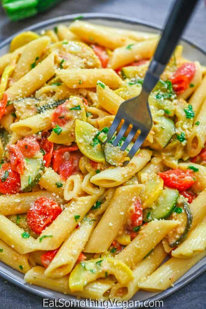 Creamy Zucchini Pasta on a plate with a fork