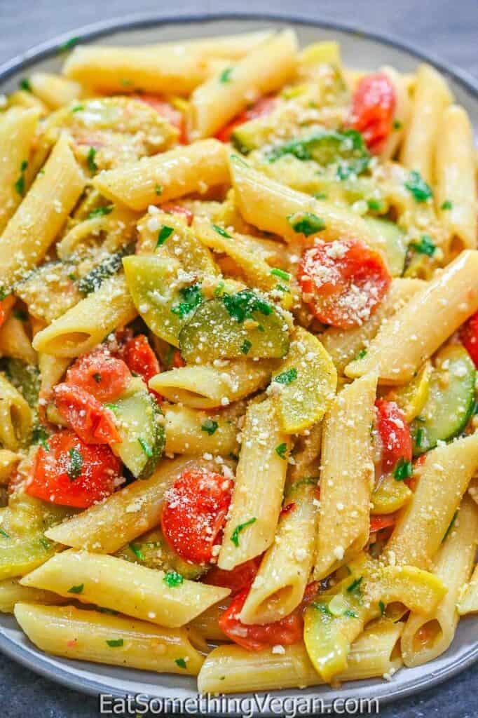 Creamy Zucchini Pasta on a plate
