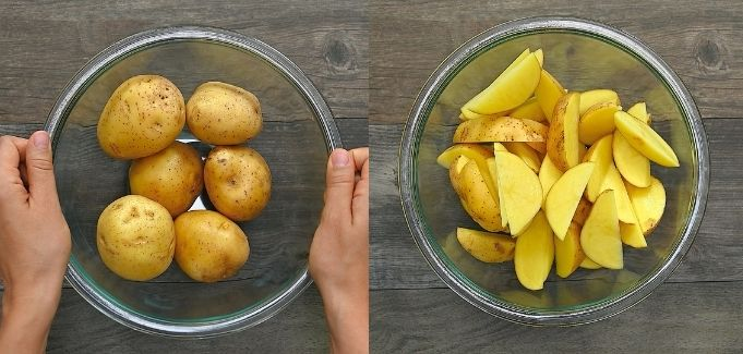 cutting the potatoes into wedges