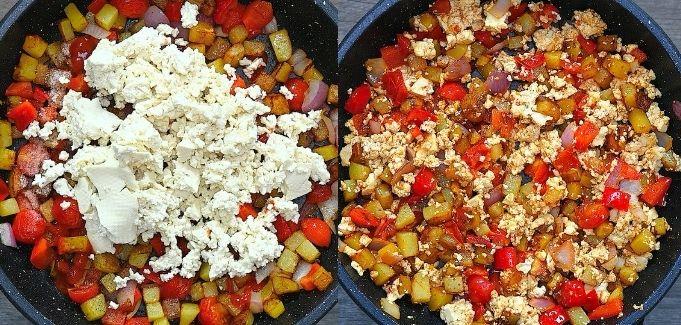 adding tofu to the veggies