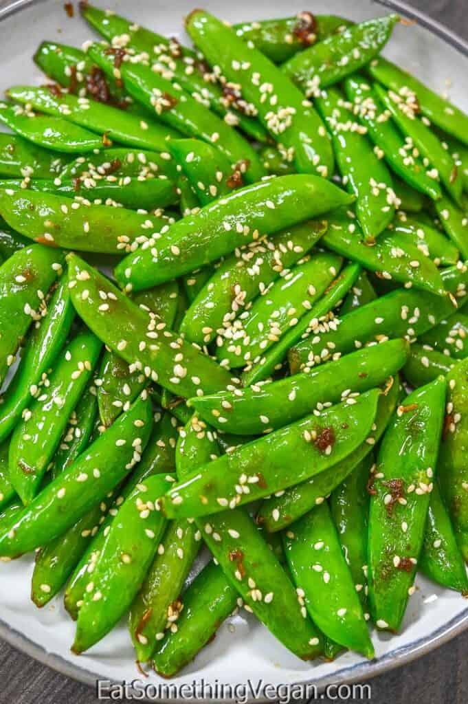 Asian Sugar Snap Peas on a plate