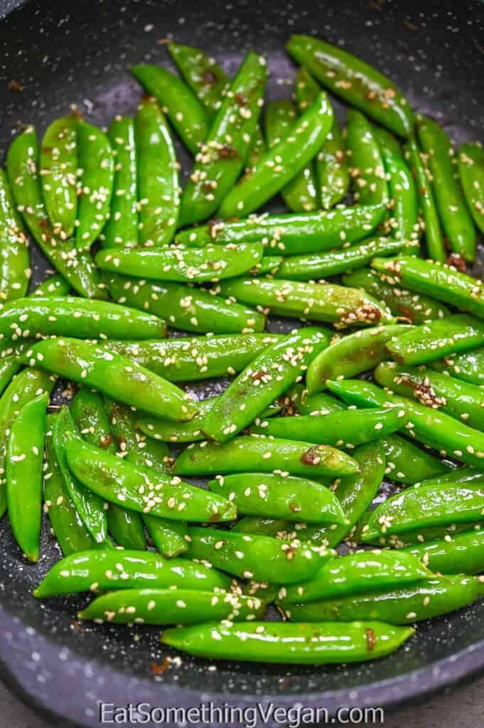 Asian Sugar Snap Peas in the skillet