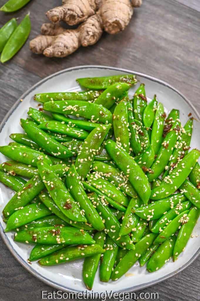Asian Sugar Snap Peas on a grey plate