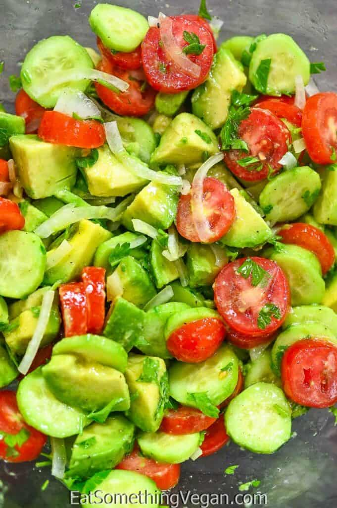 Simple Avocado Salad in a mixing bowl