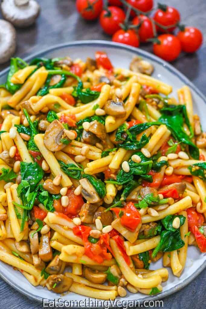 Tomato Mushroom Spinach Pasta on a plate