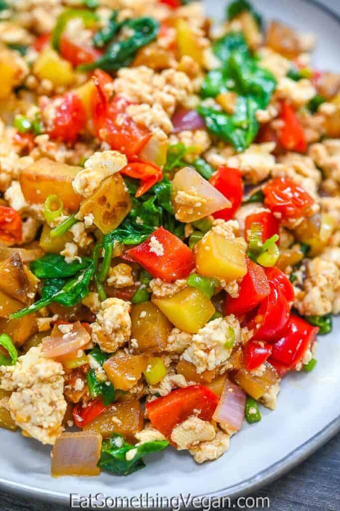 Veggie Tofu Breakfast Scramble on a plate
