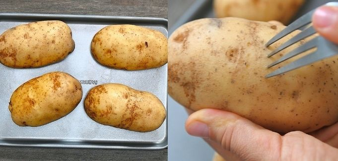 poking potatoes with fork