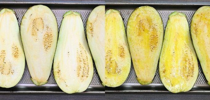 seasoning the eggplants before baking
