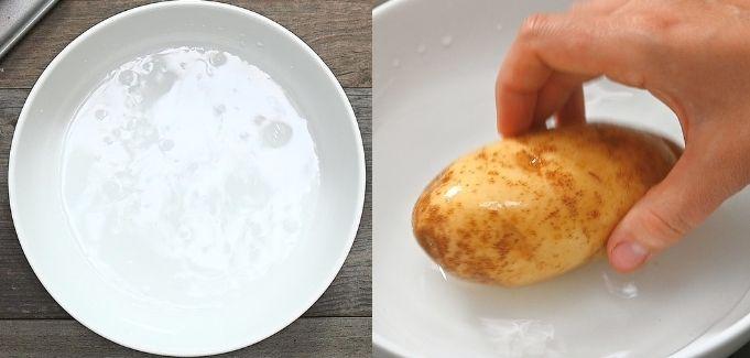 dipping potatoes in salty brine