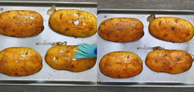 brushing potatoes with oil