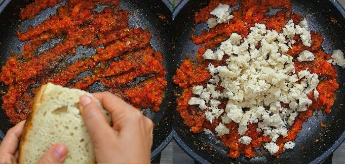 adding bread crumbles to the peppers
